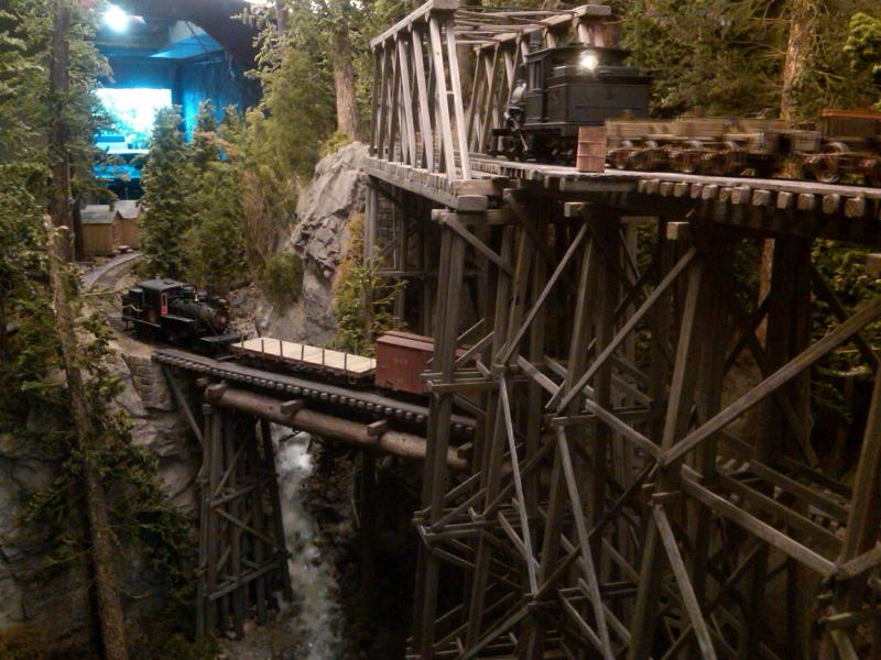 Two trains run across the trestles