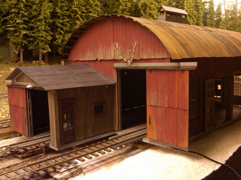 Stan's enginehouse with added doors, windows and roofing, check out Elk Antlers