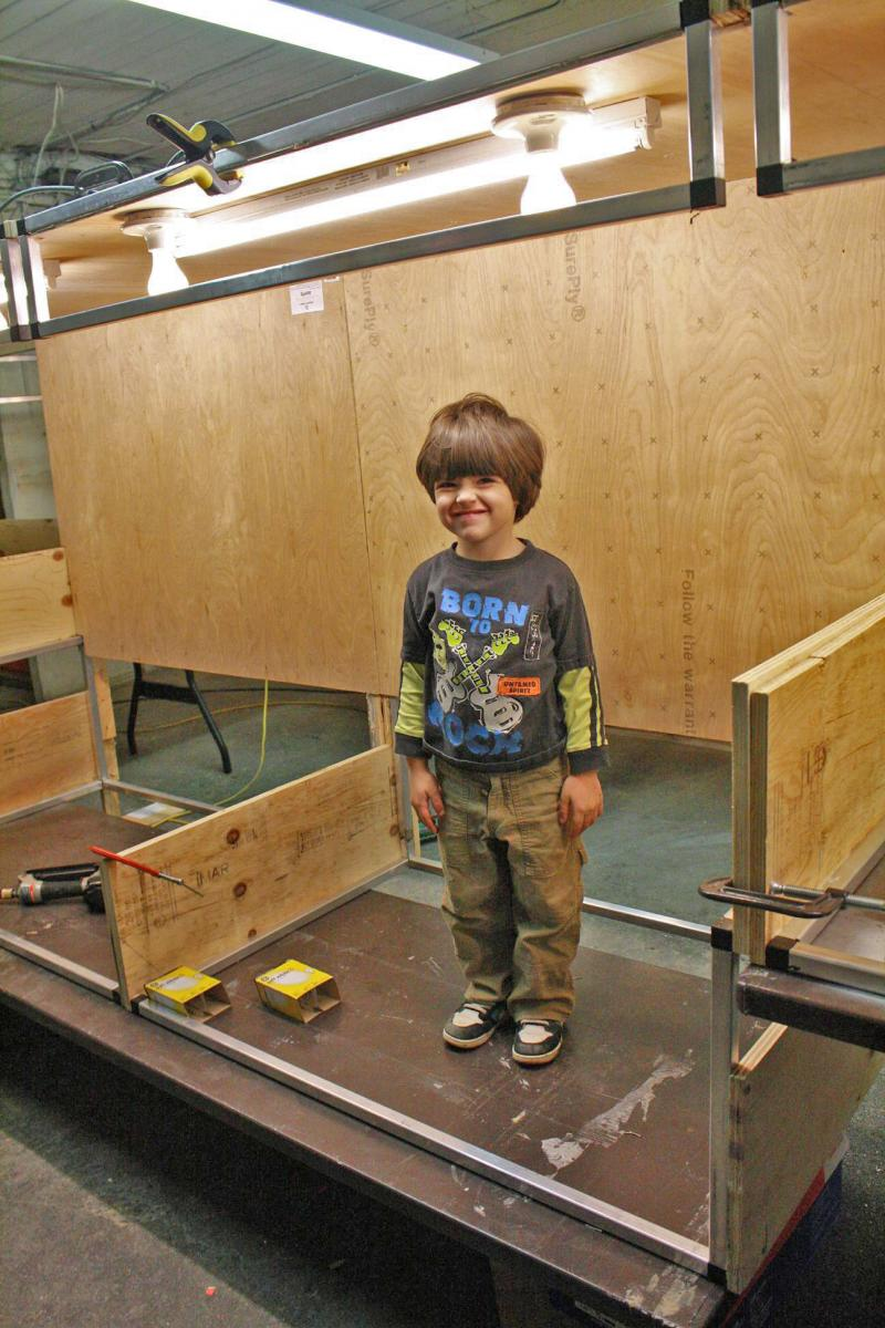 Logan Standing in the 2 Trestle Drop Sections, Each 4 Ft in Length